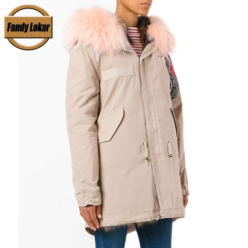 Printed Casual Real Raccoon Fur Collar Coat Women Winter Real Fox Fur Liner Loose Puffer Jacket With Hat Women Army Bomber Parka printed long raccoon fur collar coat women winter real rabbit fur liner hooded jacket women bomber parka female ladies fp896