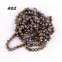 Autunno caldo di Colore Lunga Annodata Perline Collane A Catena per Le Donne 8mm Sfaccettato Ovale Perle di Vetro Lungo Contorto Catene Del Maglione 25 colori