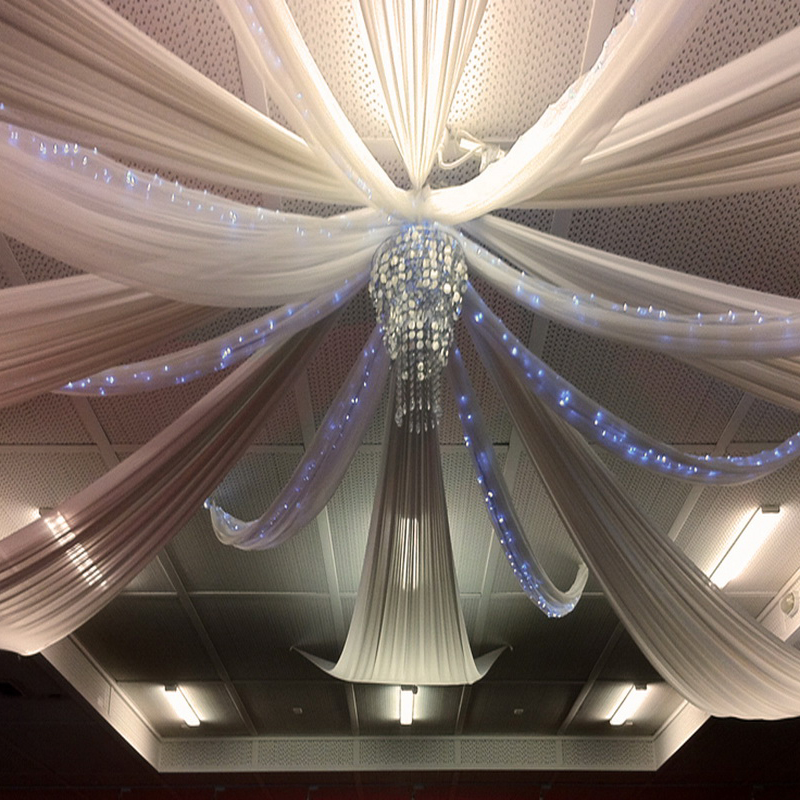 1pcs White Chiffon Ceiling Drapes Table Swag For Weddings Events And Party Decoration Roof Drapery Canopy