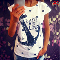 HQ 2017 Brand New Anchor Letter Printed Casual Loose Women Tees,Summer HOT Women T Shirts,Ladies Fashion T-Shirt XHH04443