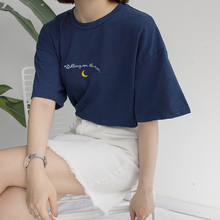 Women Tshirts 2018 New Cute Moon Embroidery Printed Short Sleeve T-shirt Woman Summer All-match Casual Tops