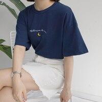 2019 новые милые лунные вышивка печатные футболка с коротким рукавом женские летние повседневные универсальные футболки Femme Harajuku топы