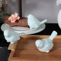Southeast Asian Style Fine Ceramic Cyan Bird Sculpture Cute Little Bird Ceramic Crafts Desktop Furnishing Birthday