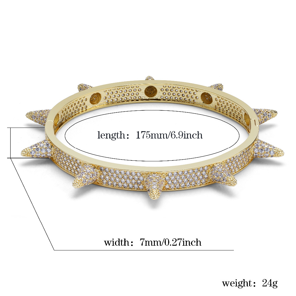 Image 3 - Luxury Iced Out Bling Cubic Zircon Hip Hop Rose Gold Silver Rivet Bracelets Spike Bangles  Gifts for Men Women-in Charm Bracelets from Jewelry & Accessories