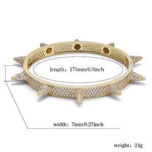 Image 4 - Luxus Iced Out Bling Cubic Zirkon Hüfte Hop Rose Gold Silber Farbe Niet Armbänder Spike Armreifen Geschenke für Männer Frauen