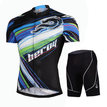 Crossroad Free Style Men`s short Sleeve Bicycle Jersey Set MTB Bike Tops Shirt Cycling Jacket W/ Padded Riding shorts S~3XL