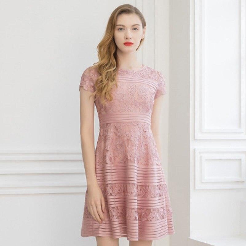 Nouvelle Robe Printemps Taille D'été La Femmes Évider Plus Mode Longueur De Vintage Office 2019 rouge Rose Robes Casual Broderie Genou Lady rBtU7qWrw5
