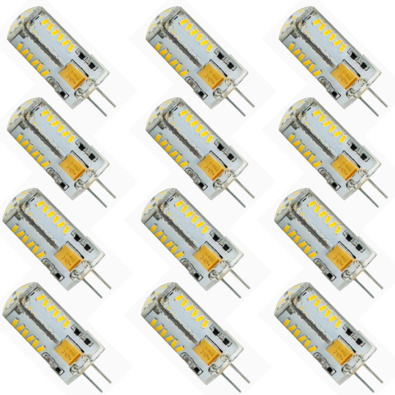 12 Pack G4 LED Light bulb 57 SMD3014 Energy Saving Lamp 7W AC/DC 12V 600-700LM Cool Warm White 360 Beam Angle Silica gel
