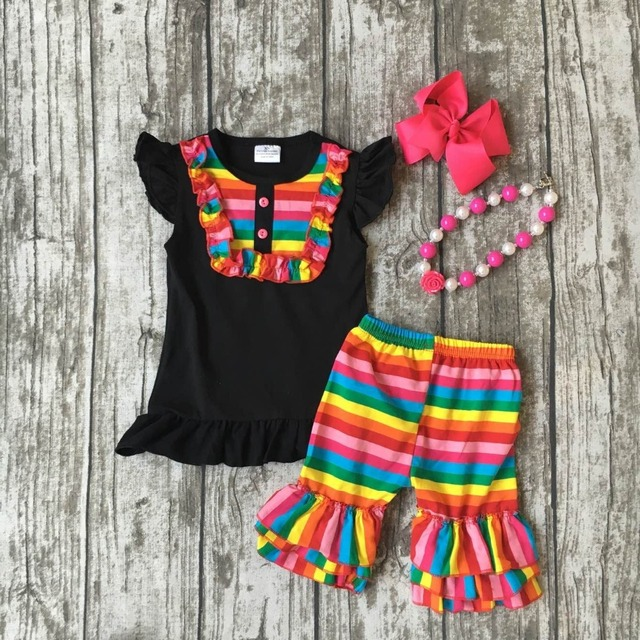 Baby Girls Summer Spring Clothes Outfits Girls Rainbow Clothing Children Stripe Ruffle Shorts Outfits With Matching