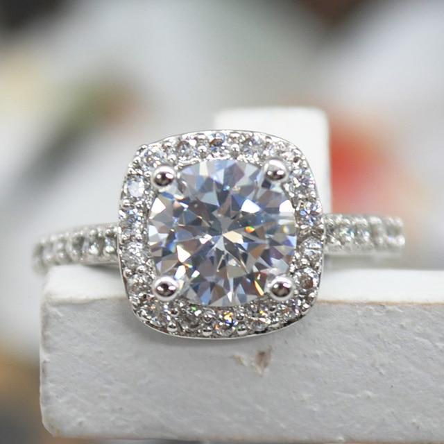 Classic Shiny Big Square Crystal Zircon Ring Wedding Rings For Women
