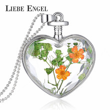 LIEBE ENGEL Romantic Love Heart Statement Necklace Vintage Silver Color Jewelry Dried Flower Collares Jewelry for Women 2017