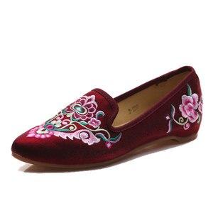 Image 2 - Veowalk/женские весенние балетки ручной работы с красивой вышивкой в народном стиле; Удобная обувь из мягкой парусины для женщин; Туфли на плоской подошве в стиле старого Пекина