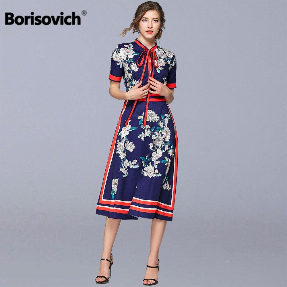 Borisovich Frauen Sommer A line Lange Kleid Neue 2019 Mode Vintage Floral Print Kurzarm Weibliche Elegante Beiläufige Kleider N1116-in Kleider aus Damenbekleidung bei AliExpress - 11.11_Doppel-11Tag der Singles 1
