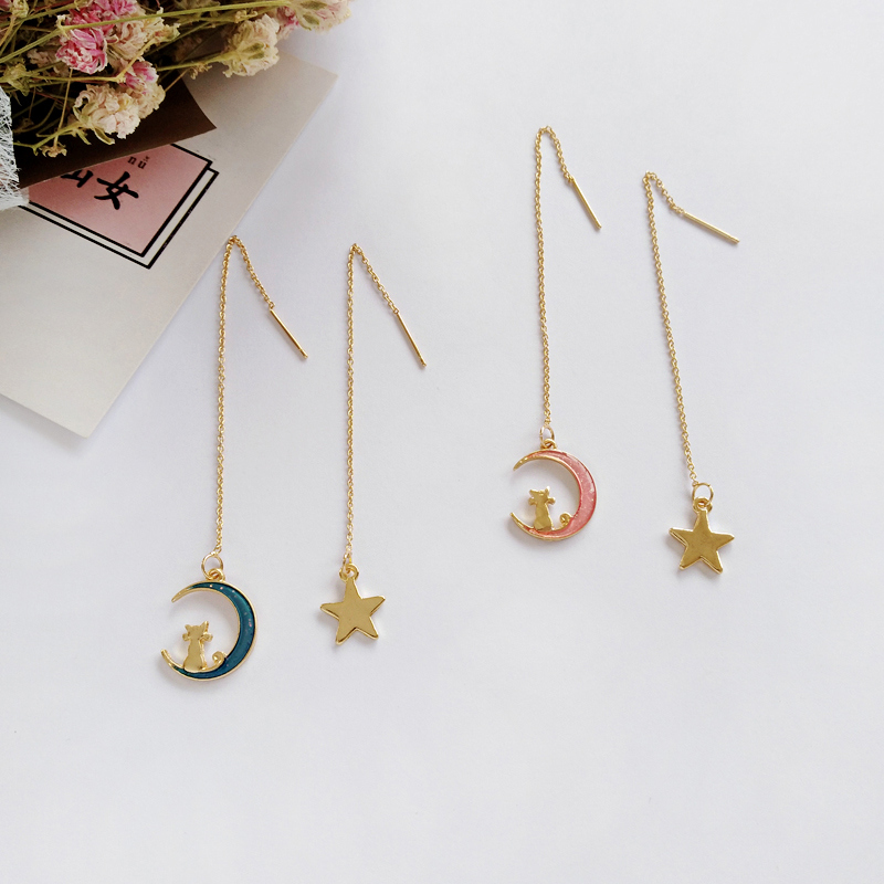 Free shipping Fashion jewelry Wholesale gift Cartoon dream moon, small cat, animal, long and short Earrings