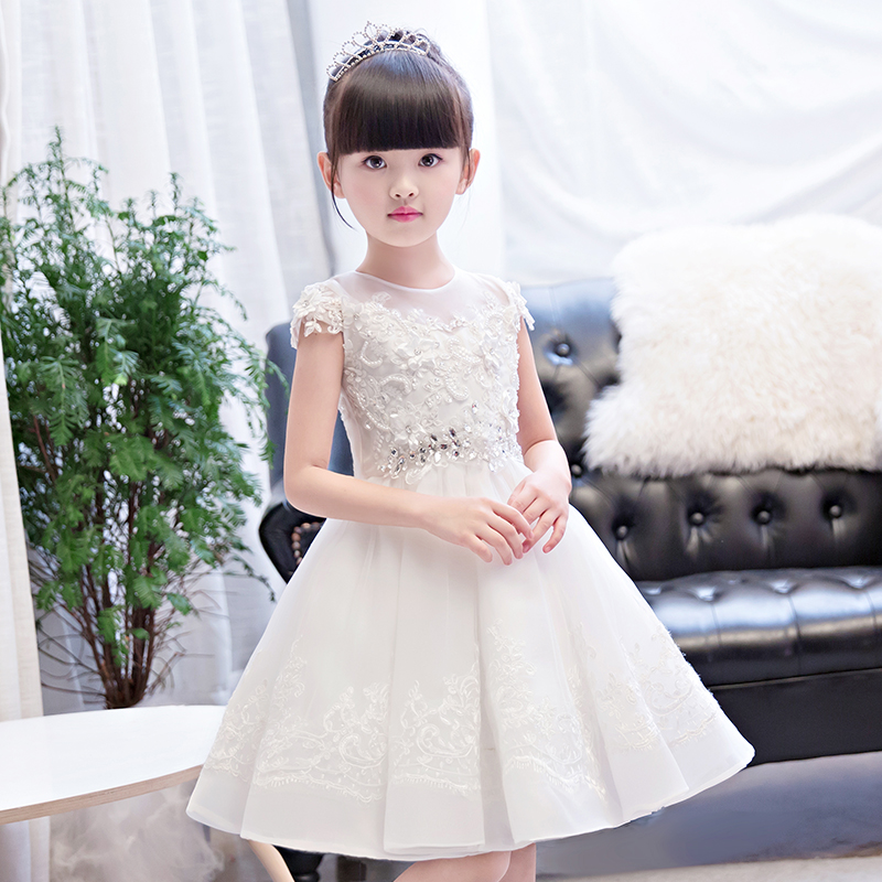 White Ball Gown Princess Dress Birthday Party Short Sleeve Lace Crystal Appliques Flower Girl Dresses Wedding Kids Pageant Dress