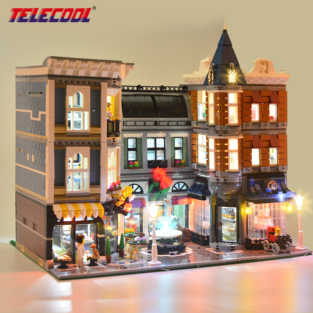 TELECOOL Led Light Kit (Only Light Set) For Creator The Assembly Square Set Light Set Compatible With Lego 10255 And 15019 telecool led light building blocks set only light set for lepin 07045 and 70905 superhero movie the batman robbin s mobile set