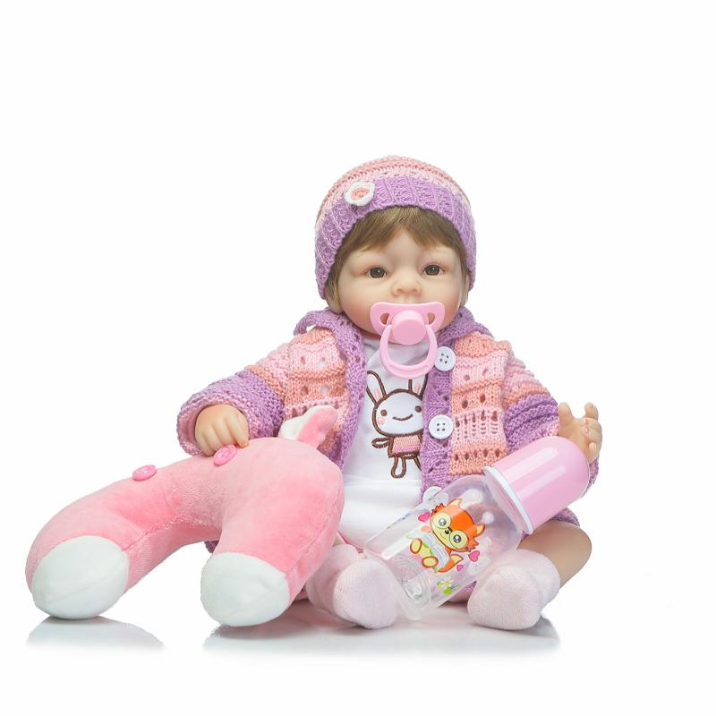 16 Silicone Reborn Baby Doll Toys 42cm Handmade Cloth Body Doll Lifelike  play house bedtime toy birthday gift for girl Brinque