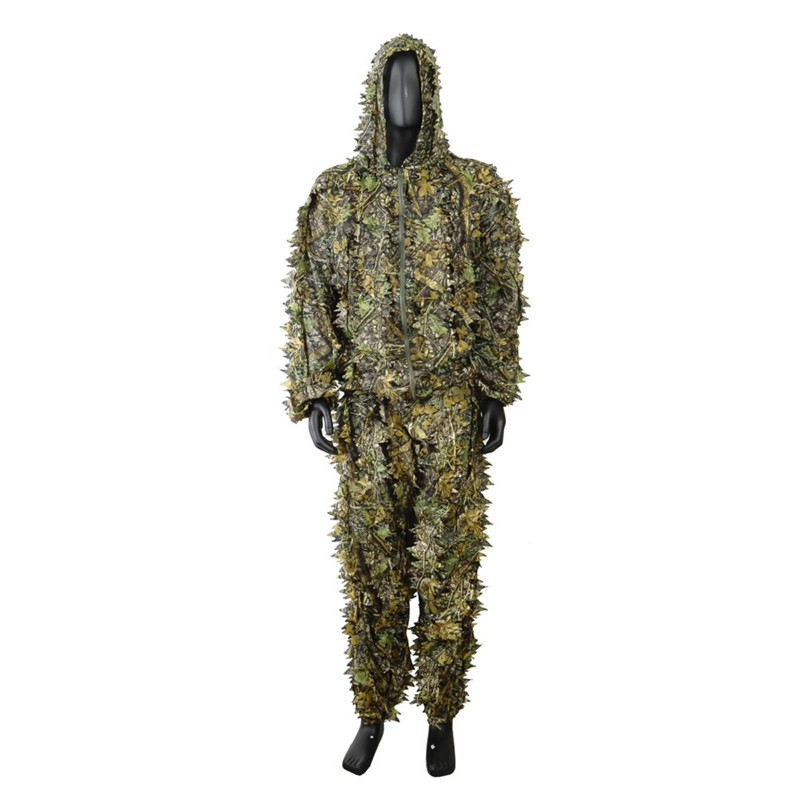 3D Leaf Camouflage Hunting Ghillie Suits Men Tactical Military Army Camo Uniform Clothing Woodland Airsoft Jacket Pants XXL or fabric camouflage leaf headgear