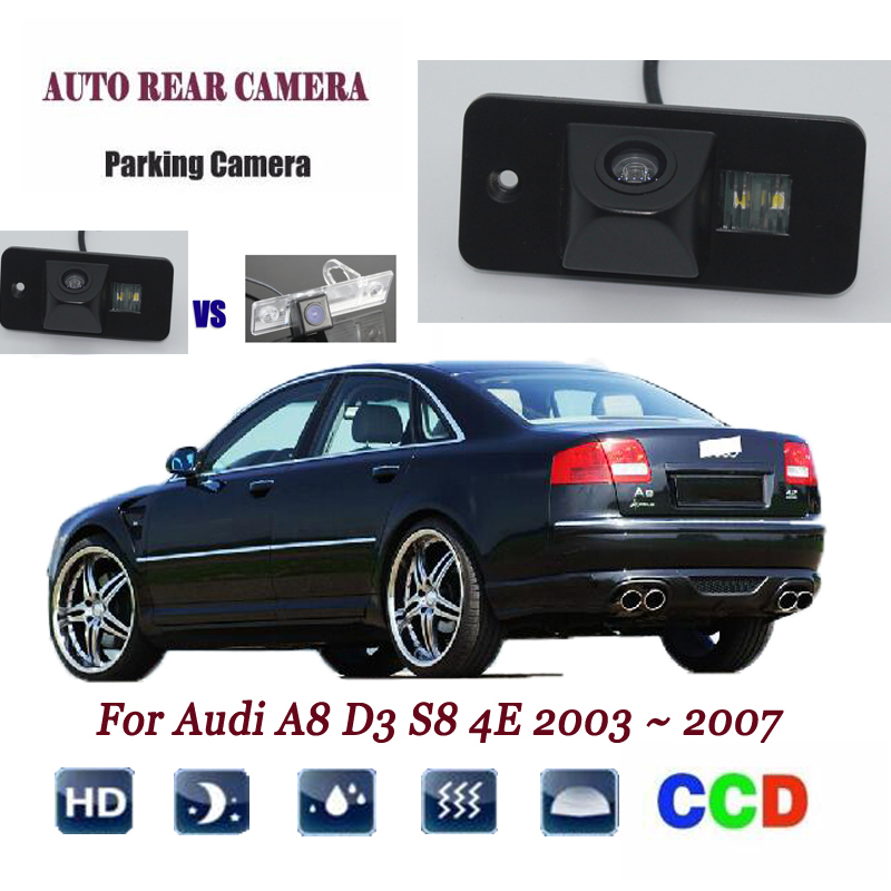Rear View Camera For <font><b>Audi</b></font> <font><b>A8</b></font> <font><b>D3</b></font> S8 <font><b>4E</b></font> 2003 ~ 2007 CCD Night Vision Backup camera license plate camera Reverse camera image