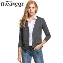 Meaneor 2018 Camiseta Mulheres Casual Blazer Turn Down Collar Manga Comprida Listrada Magro Moda Blazer Cardigan Casaco Primavera