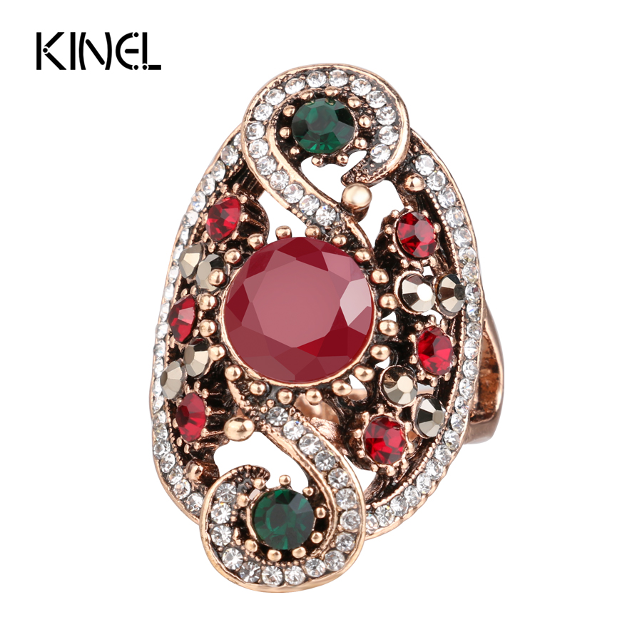 Hot Fashion Turkish Jewelry Dubai Color Gold Ring Red ...