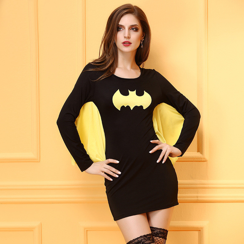 2017 Sexy Women Tight Batwing Cosplay Costume Halloween Batman Hero Cosplay Black Mini Dress Female Batman Skinny Outfit