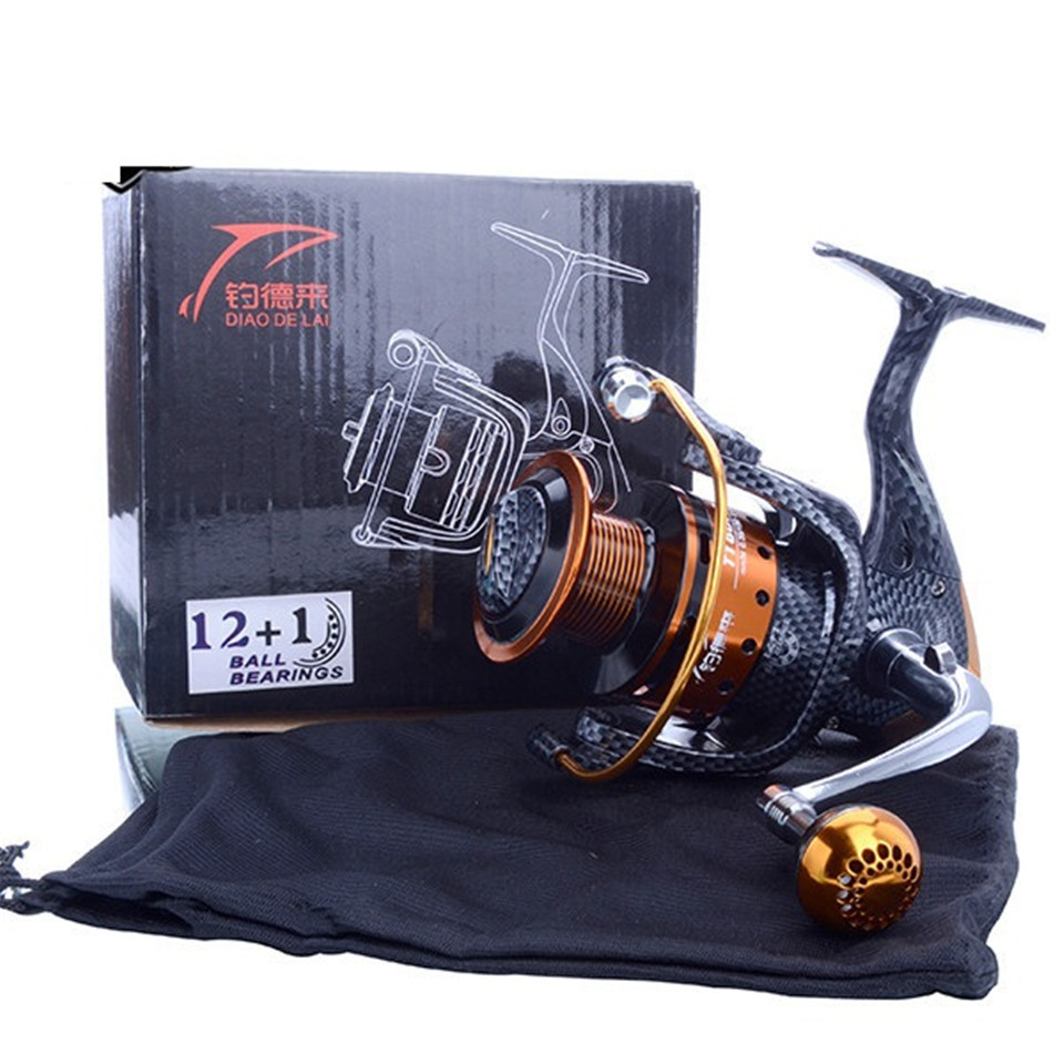 Купить с кэшбэком Saltwater New Arrival Metal Spinning Fishing Reel Coil carretilha pesca 6000 Series 12+1BB 5.1:1 molinete pesca Wheel China