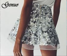 New Spring Summer Midi Women Skirt High Waist A Line Shiny sequins Kawaii Tulle Cute Female 2019