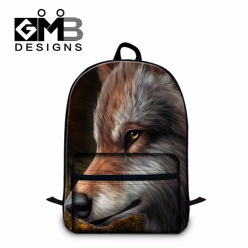 Designer Wolf Pattern Laptop-Rucksäcke für Jungen, coole Backpacking-Tasche für Herren, stilvolle Bookbags für Kinder, Girls Mochila Book Bags