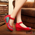 Dinette Ballerinas Dancing Shoes  Old Peking Embroidery  Shoes Beijing Cloth Walking Flats muffin wedges Shoes 2017