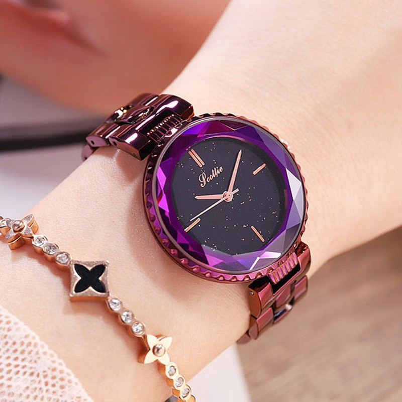 Top Luxury Brand Lady Crystal Watch Woman Fashion Rhinestone Dress Watch Gold Quartz Watches Women Stainless Steel Watch Clock kimio ultra slim top brand woman watches fashion ladies crystal clock black ceramics gold luxury women rhinestone diamond watch