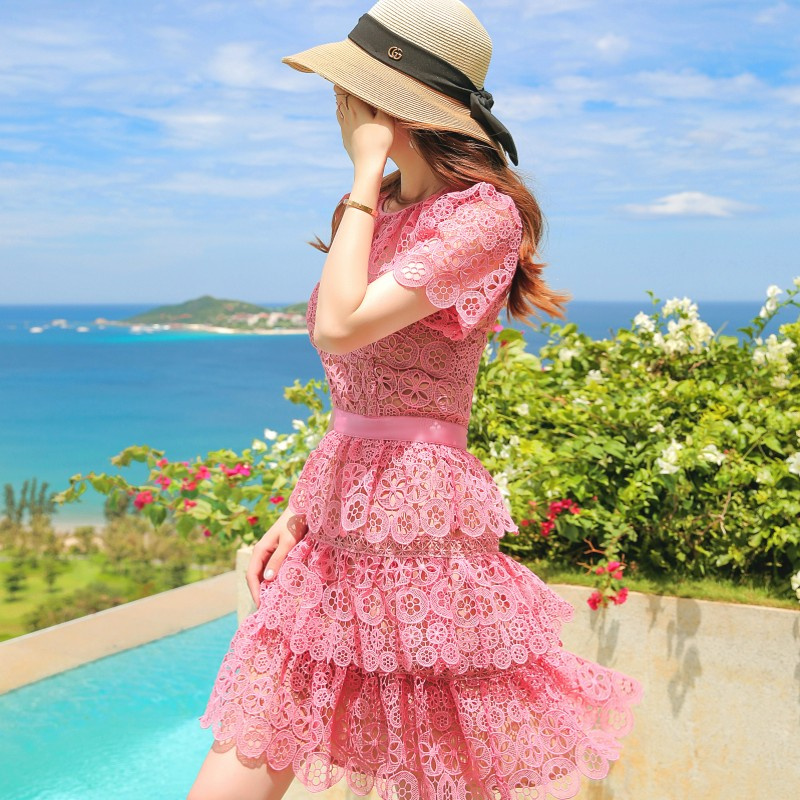 Top quality Runway Dress 2018 Cute self portrait pink Lace dress Women Short Sleeve Sunflower Cake Party Dress robe ete femme
