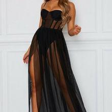 Summer Dress Womens Sexy Perspective Mesh Gauze Sleeveless B