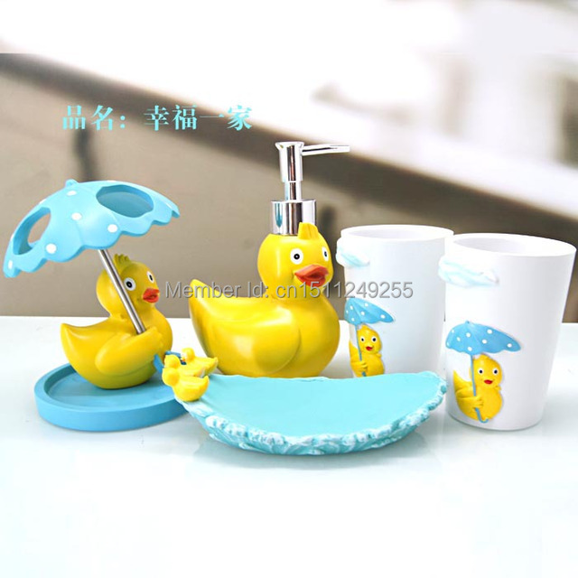 Creative Products Duck Bathroom Sets Toiletries Soap Dish Bottle Toothbrush Holder Cup B003
