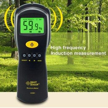 Inteligente Sensor AS981 Digital Madeira Medidor de Umidade Higrômetro Umidade Damp Detector Tester Materiais LCD Backlight De Compensado De Madeira