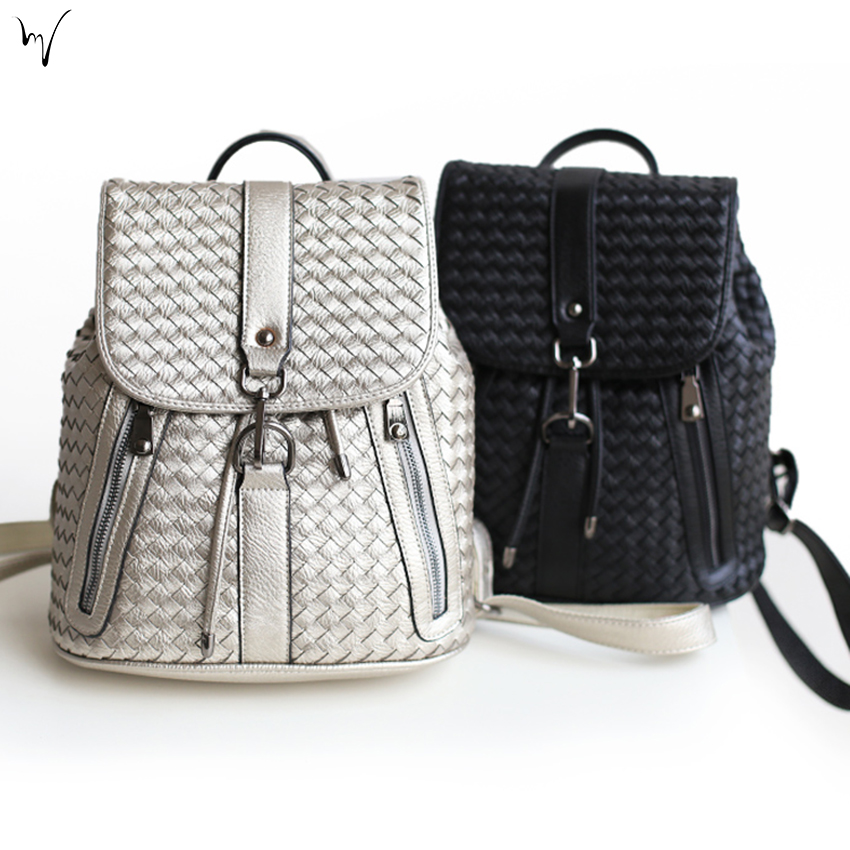 Weave Buckle font b Backpacks b font College Cover Ladies Bag Soft Handle Handmade Package Travel