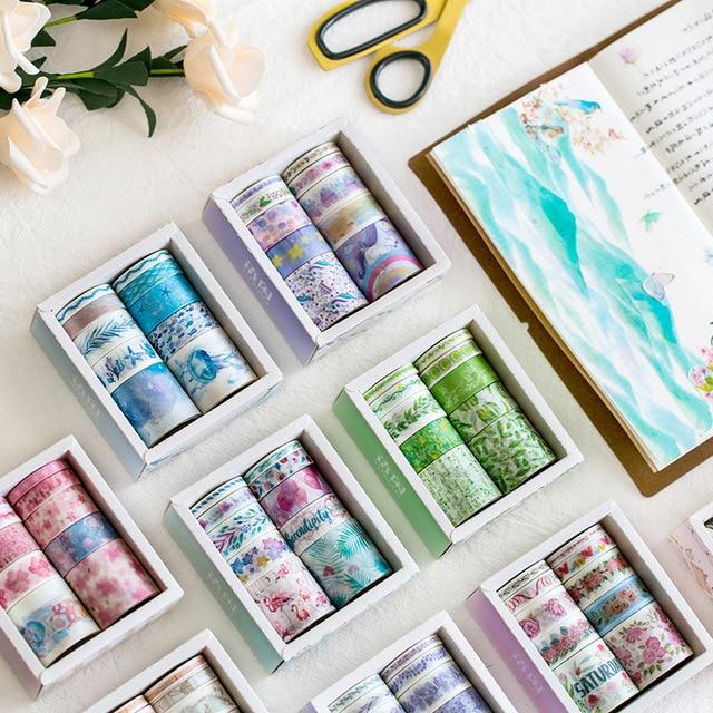 10 unids/lote océano estrellas Wisteria Floral lindo adhesiva de papel Washi cinta conjunto japonés papelería Kawaii suministros de Scrapbooking etiqueta engomada