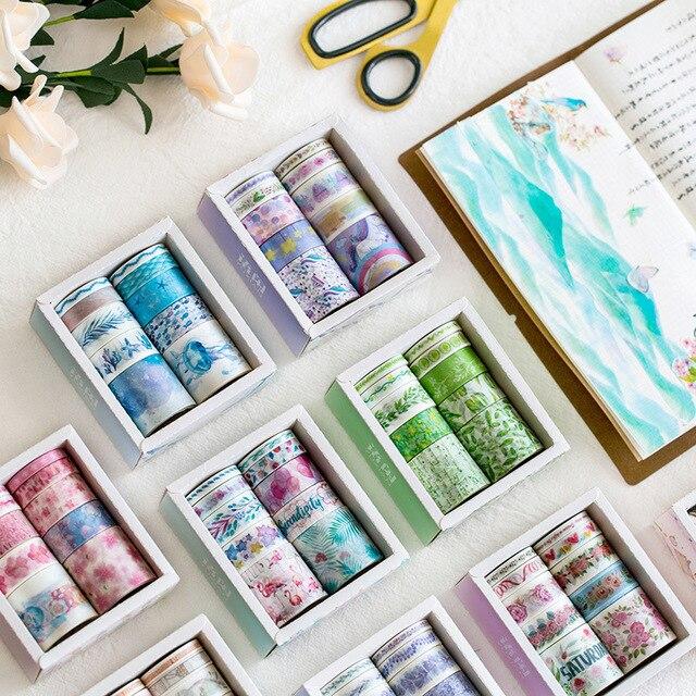 10 unids/lote océano estrellas Wisteria Floral lindo papel enmascarar Washi cinta Set japonés papelería Kawaii Scrapbooking suministros pegatina
