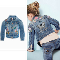 2017 New Baby Gril Fashion Embroidered Flower Butterfly Denim Jeans Jacket Coat Kids Children Girl Toddler