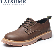 LAISUMK New Fashion Italian Men Shoes Luxury Classic Leather Oxfords Designer Waterproof Martin Outdoor Footwear
