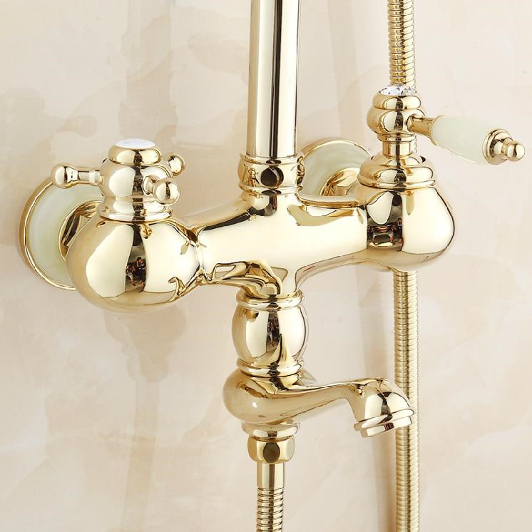 Shower Faucets Luxury Gold Color Bath Shower Set Wall mounted ...