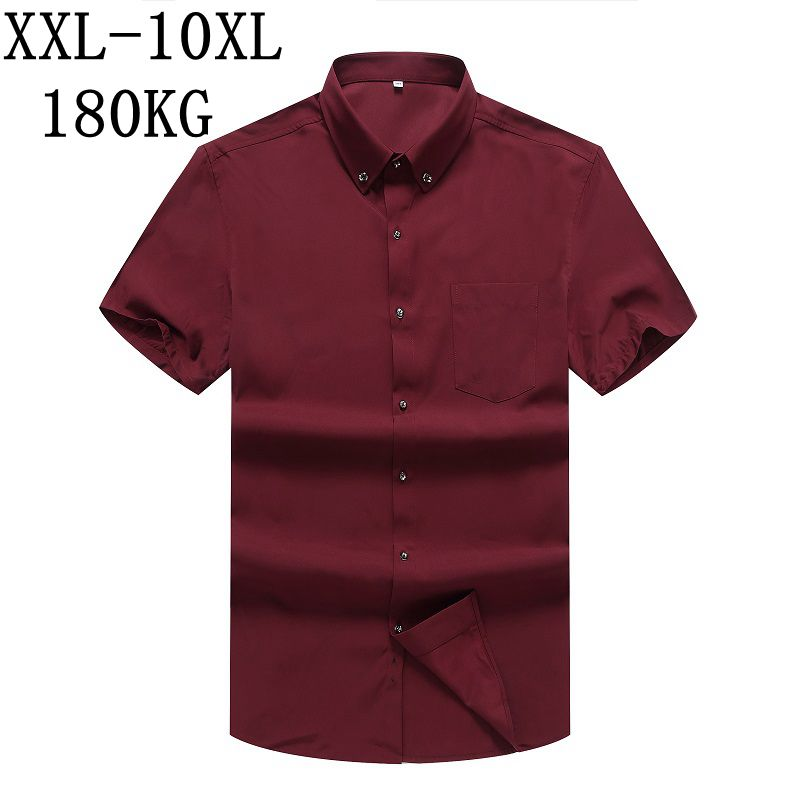 86 10XL 8XL 7XL New Summer tops Pure Color Men Dress Shirt Short Sleeve Classic Black Work Wear Brand Business Men Casual Shirt