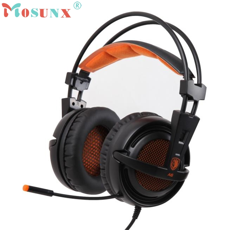 2017 Sades A6 Stereo USB 7.1 Surround Pro Gaming Headphone w/Mic For PC Notebook Sports High Quality Fashion_KXL0411 sades a60 alloy stereo 7 1 surround pro gaming headphone usb headband pc noteboo