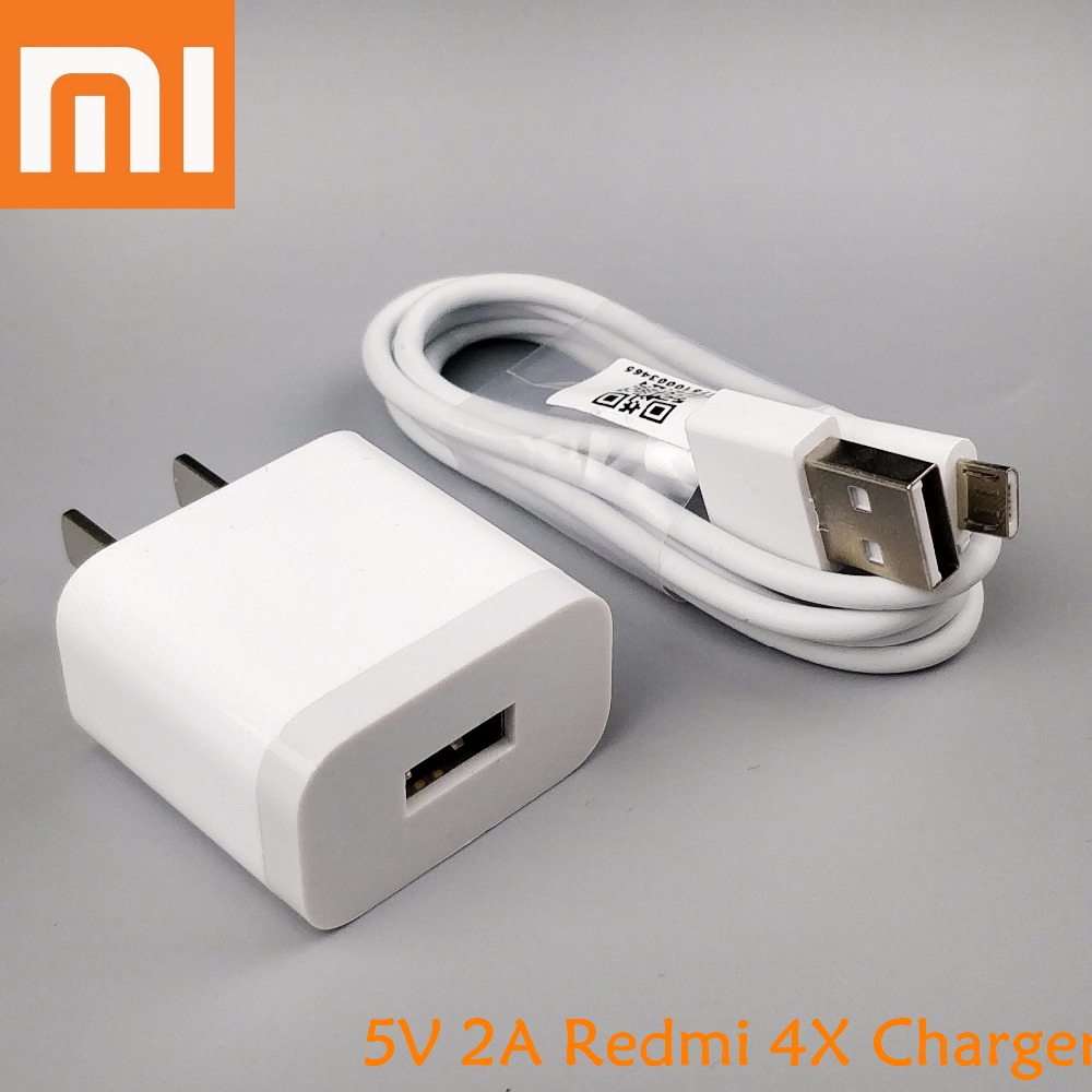 Xiaomi redmi 4x charger original , 5V 2A Wall Charge Adapter & Genuine Micro usb Cable for Xiaomi MI 2 3 4 redmi 4 note 5 pro