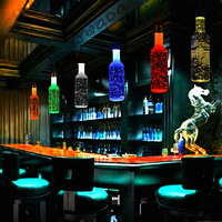 ZYY Modern Crystal Wine Bottle Pendant Light BAR Lamp 3W LED Energy Saving Light Source Colorful
