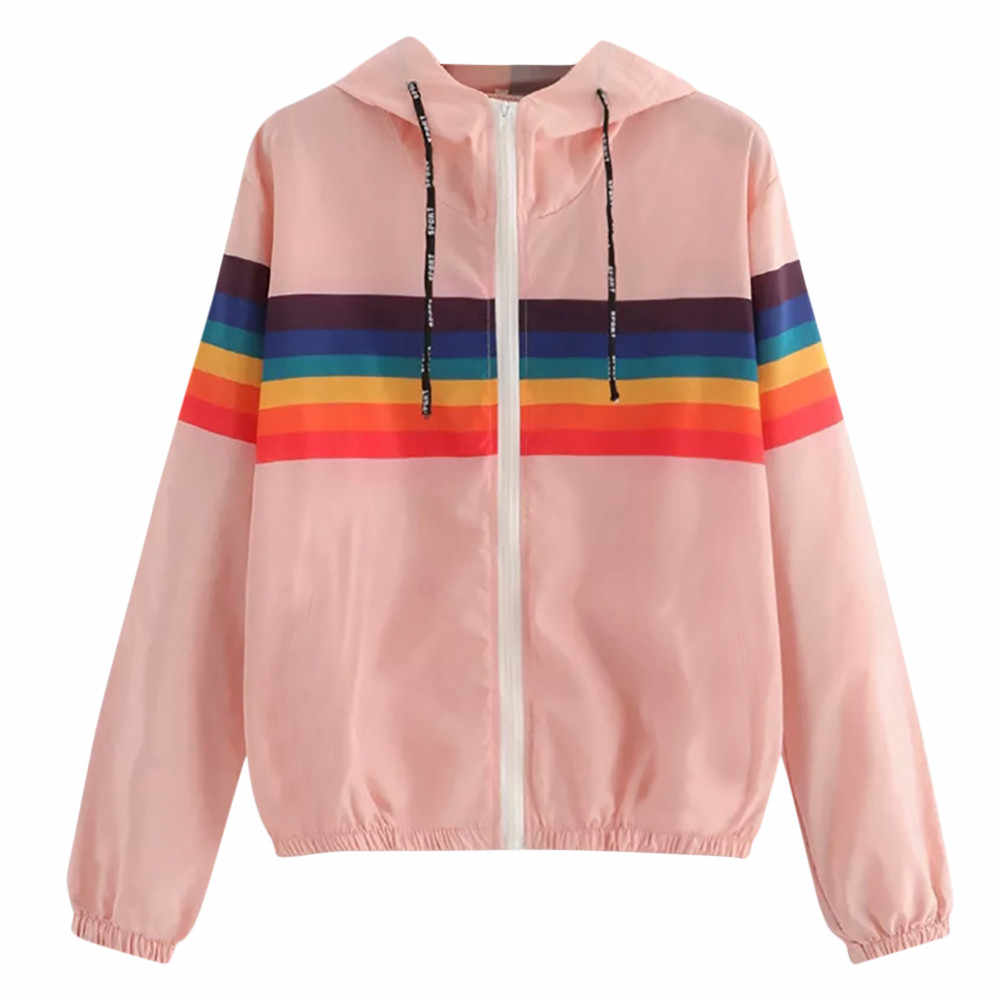 fee0f9be67d Women Winter Hooded Jacket Ladies Causal Coats Long Sleeve Rainbow Stripe  Patchwork Outwear Overcoat Blouse Winter
