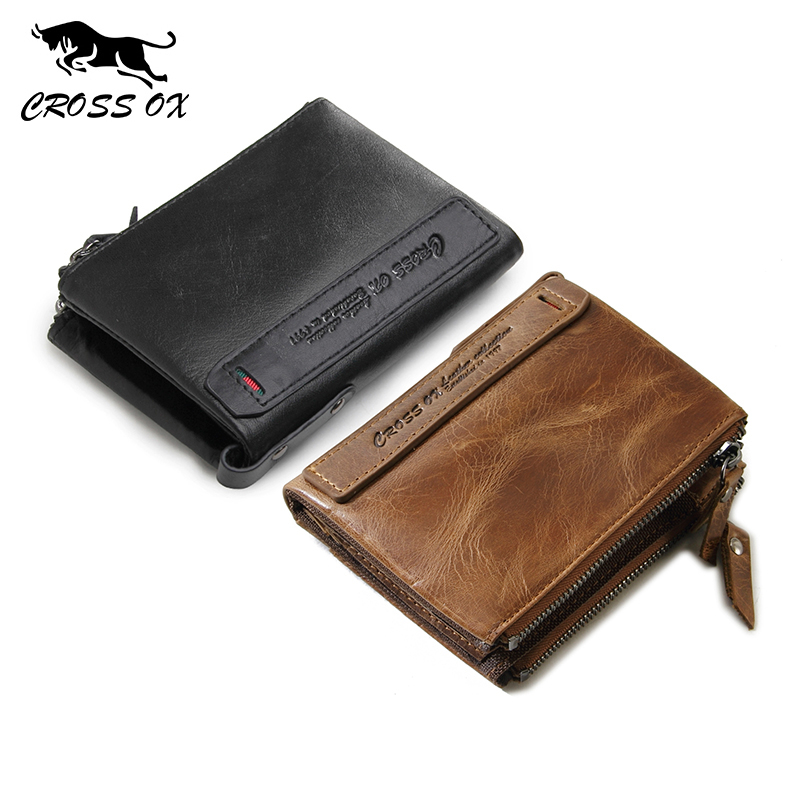 CROSS OX men's genuine leather wallet case and coin purse WL106 good design women female solid color mini wallet pu leather purse ladies fashion coin zipper pocket card holder bag popular