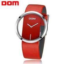 Reloj de las mujeres dom marca de moda de lujo de cuarzo ocasional unique stylish hollow skeleton relojes deportivos de cuero de señora relojes de pulsera 7 m