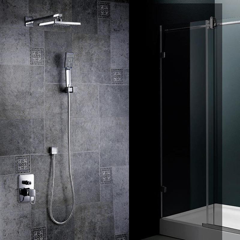 Shower Faucets Chrome Silver Wall Mount Bathroom Faucet Set Rainfall Square Big Shower Head Handheld Valve Bath Mixer Tap YB-608 chrome bathroom thermostatic mixer shower faucet set dual handles wall mount bath shower kit with 8 rainfall showerhead