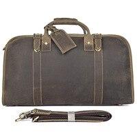 21 Travel Duffle Bag Crazy Horse Leather Vintage Man Large Capacity Leather Weekend Brand Designer Hand Tote Shoulder Bags